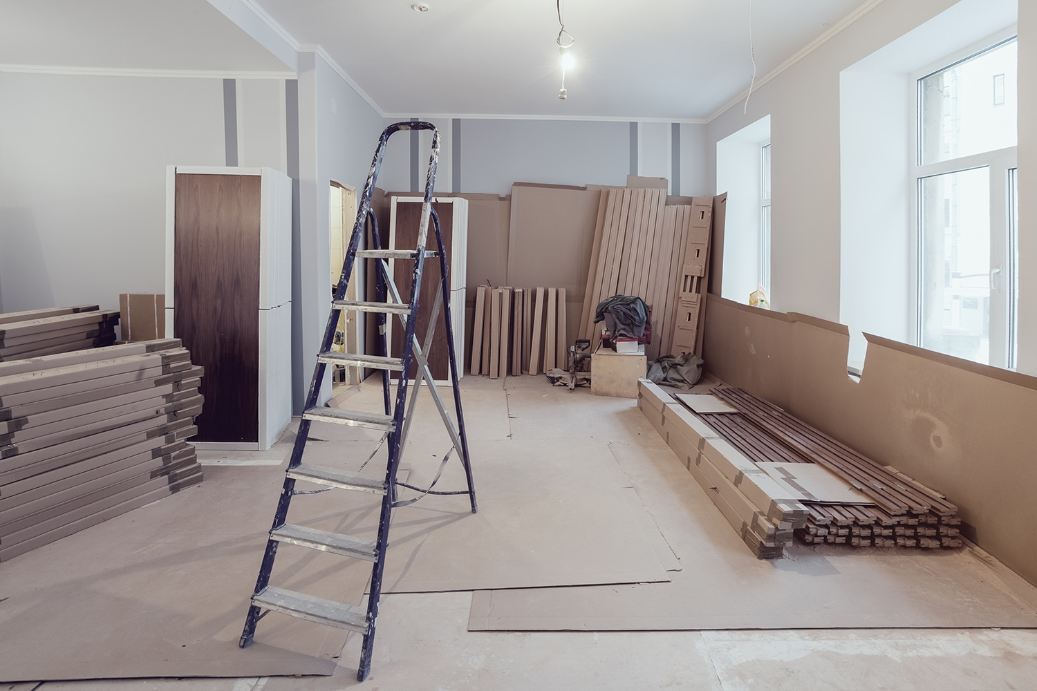 Empty apartment with construction going on.