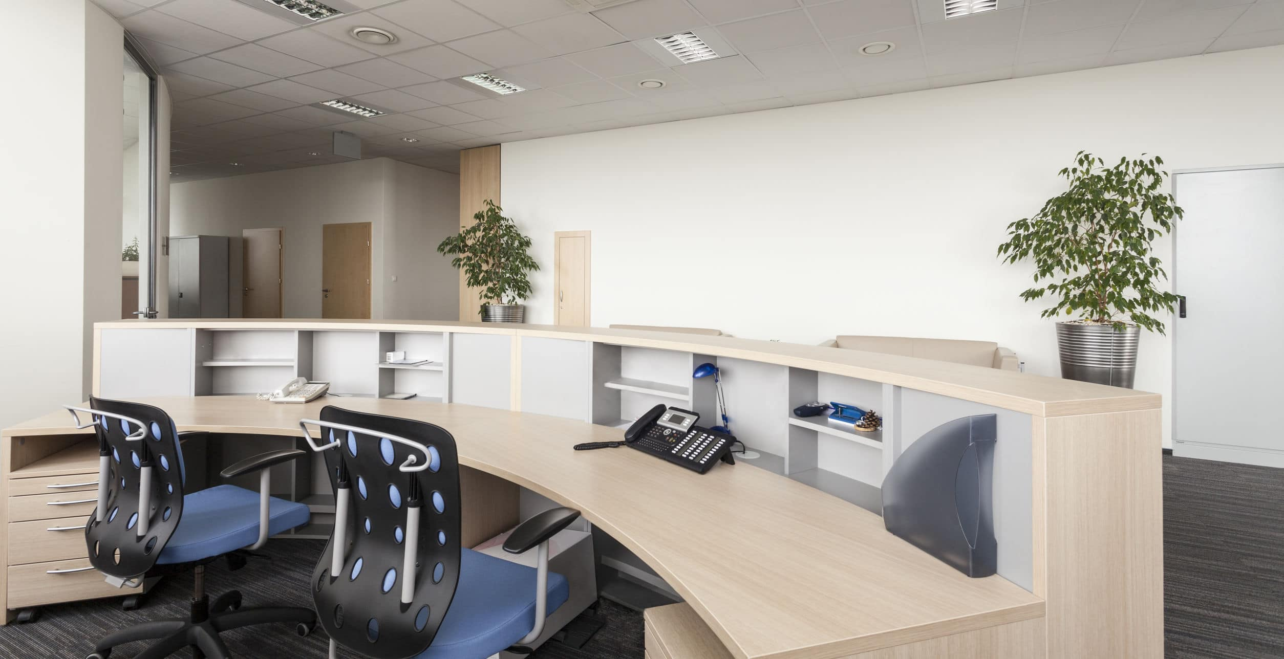 Reception room in an office building