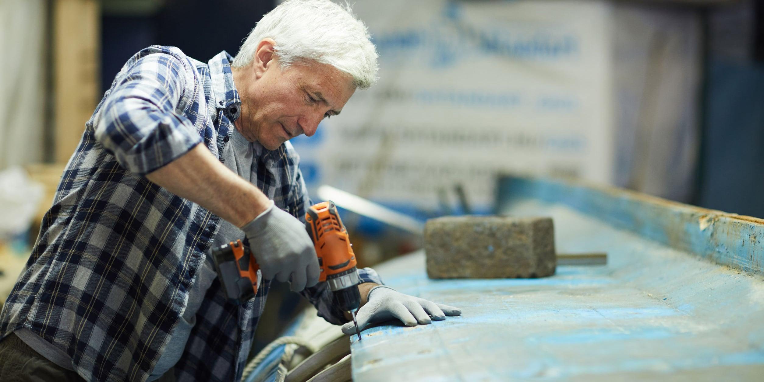 Man working in shipyard