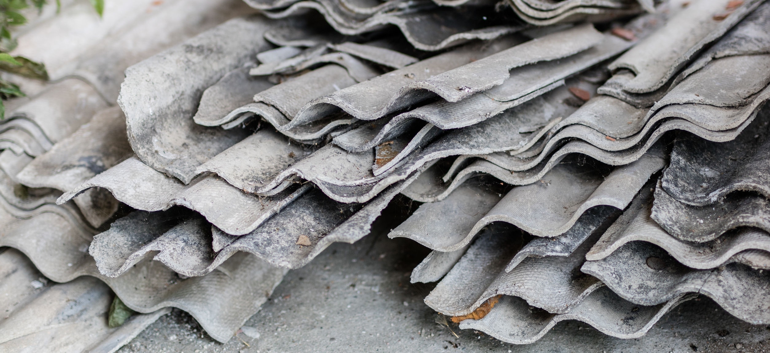 Old asbestos roof shingles