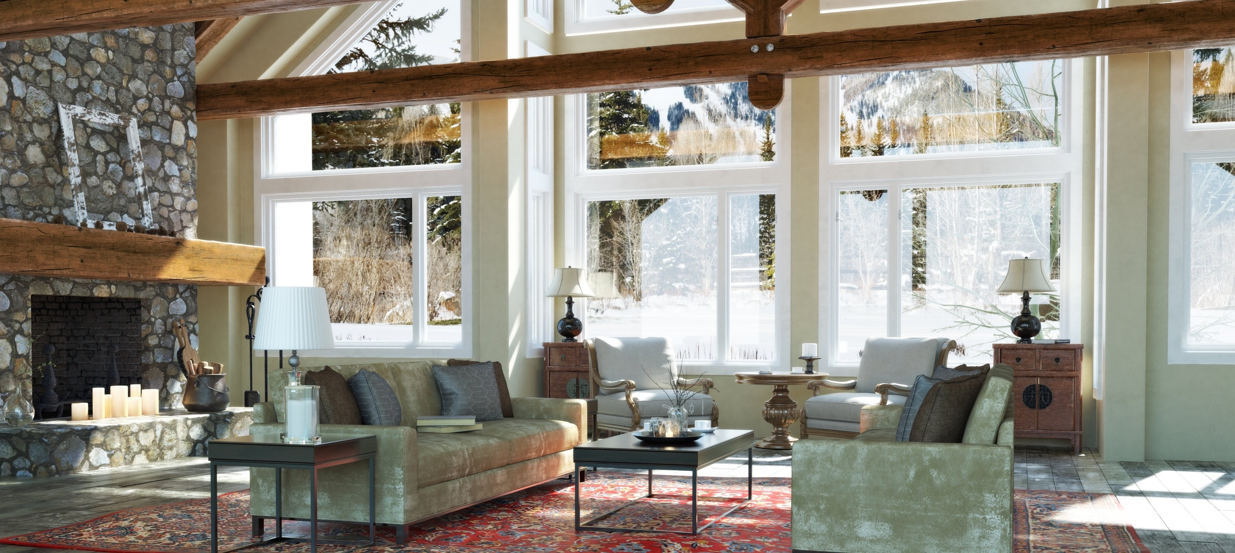 Interior living room of a mountain home